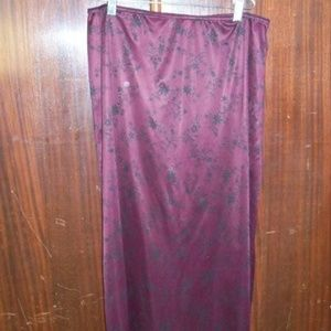 Full Length Maroon Skirt with Black Flower pattern